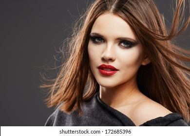Hair Style Model Studio Portrait. Beautiful Woman Face. Close Up.