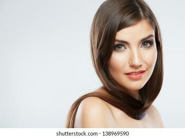 Hair style smiling woman portrait. Female model