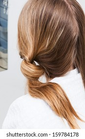 Hair styling in a modern hairdressing salon