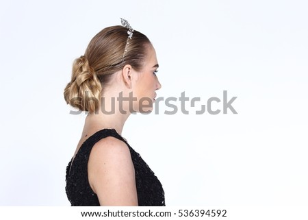 Hair Styling Rear View Blonde Color Stock Photo Edit Now 536394592