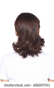 Hair Styling Rear View, Brown Short curl color asian long hair style, studio lighting white background