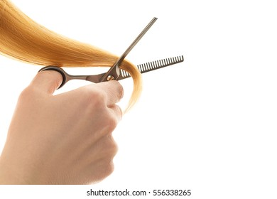 hair tapering of split ends by hair scissors isolated on white