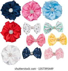 hair textile bows isolated on white background