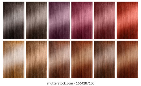 Hair tints colors set palette on white background.
