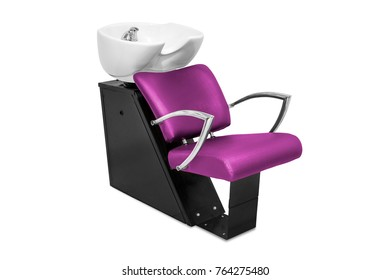 Hair washing chairs isolated in white background