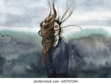 hair waving in the breeze, girl, moody watercolor