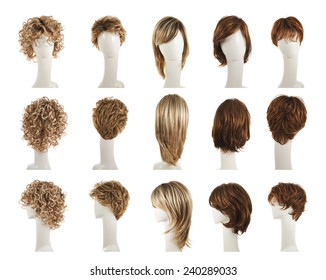 Hair wig over the white plastic mannequin head isolated over the white background, set of five different wigs in front, back and side foreshortenings