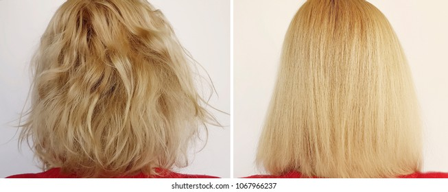 Hair woman before and after straightening