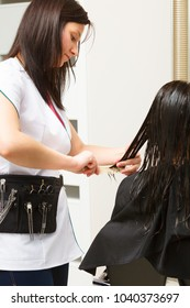Haircare, relaxation and hairstyling concept. Woman sitting in black cape getting her hair cut by lady hairdresser in beauty salon