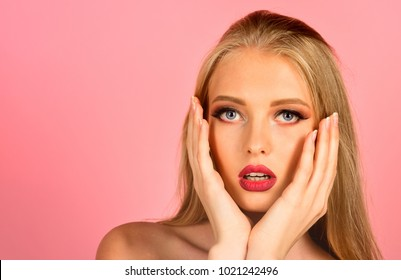 Haircare, skincare, beauty, spa concept - glamour blonde woman with long hair, red lips, professional makeup, perfect fresh clean skin. Sensual spa model girl. Cosmetology and treatment. Copy space.