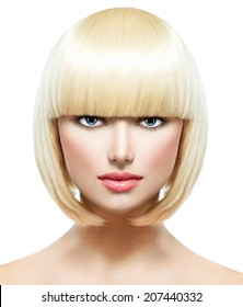Haircut. Hairstyle. Fringe. Fashion Stylish Beauty Portrait with White Short Hair. Beautiful Girl's Face Close-up.  Professional Makeup. Make-up. Bob hairstyle Woman. Isolated on a White Background.