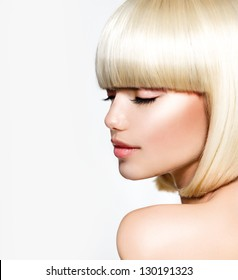 Haircut. Hairstyle. Hairdressing. Fringe. Beautiful Model with Short Blond hair