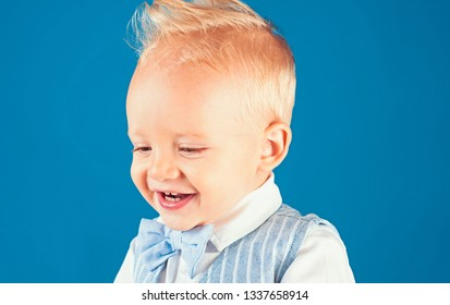 Haircut that is easy to manage. Boy child with stylish blond hair. Healthy haircare tips for kids. Little child with messy top haircut. Little child with short haircut. Haircare products.