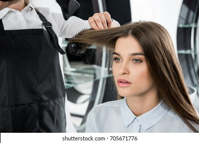 hairdresser brushing hair of beautiful young woman in beauty salon