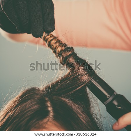 Hairdresser Curling Woman Hair Electric Iron Stock Photo Edit Now