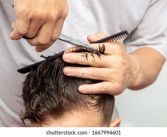 Hairdresser cuts the hair of a boy with scissors.