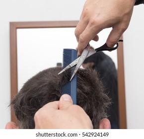 hairdresser cuts men's hair cut