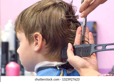Hairdresser cutting hairs with scissors on boy's head. Back view, stylist's hands close-up.