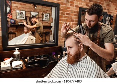 hairdresser does haircut for bearded man in barber shop
