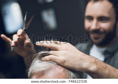 Hairdresser Does Hairstyle Old Man Gray Stock Photo Edit Now