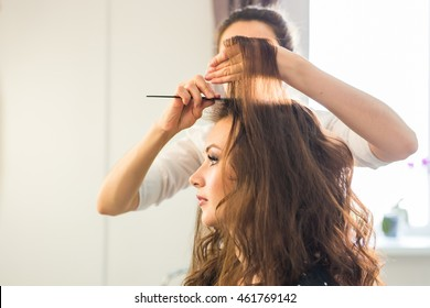 Hairdresser doing hair style for woman. Concept of fashion and beauty