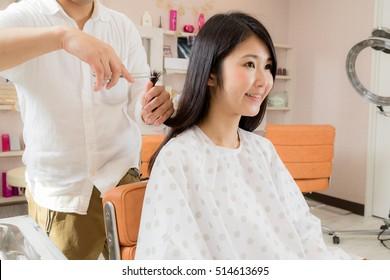 Hairdresser, Hair salon, woman, cut
