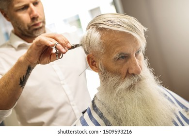 Hairdresser making stylish haircut for a handsome old man in the barbershop