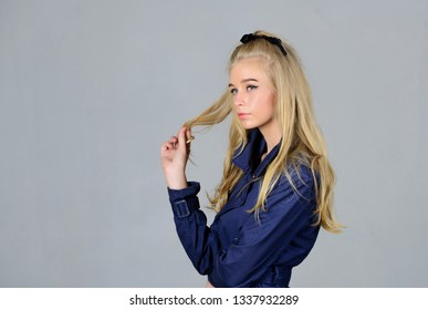 Hairdresser tips concept. Salvaged my bleached hair. How to take care of bleached hair. Girl tender blonde makeup face grey background. How repair bleached hair fast and safely. Bleaching roots.