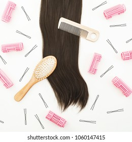 Hairdresser tool for hair styling on white background. Beauty composition. Flat lay, top view