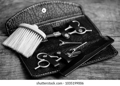 hairdresser tools - black and white photo