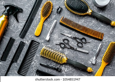 hairdresser tools pattern gray background top view