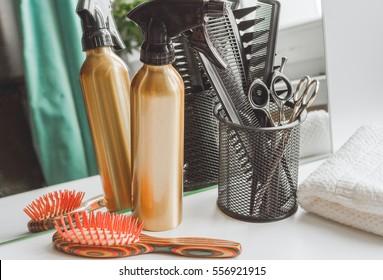 hairdresser working desk preparation for cutting hair