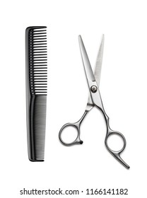 Hairdresser's scissors and comb on white background.