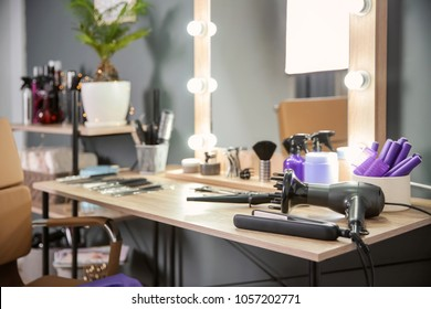 Hairdresser's workplace in salon