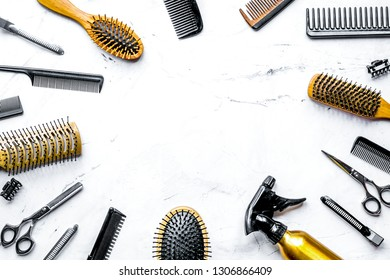 hairdressing concept with barber tools on white background top view mock up