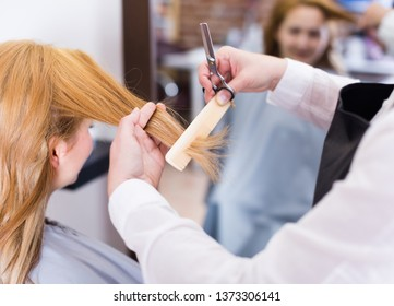 Hairdressing cutting and leveling hair to young blonde woman by means of scissors and hairbrush in salon.