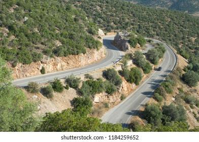 hairpin bend road mountain crosses Peloponnese Region in Greece