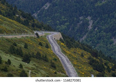 Hairpin bend winding up the mountainside in Andorra on the way to the French border