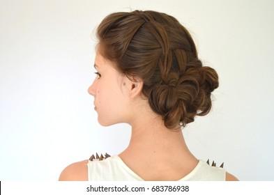 Hairstyle braiding on medium length