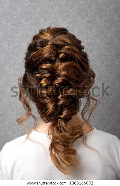 Marvelous Hairstyle Greek Braid On Head Brownhaired Stock Photo Edit Now Natural Hairstyles Runnerswayorg