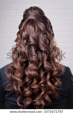 Hairstyle Long Curls On Head Brunette Stock Photo Edit Now