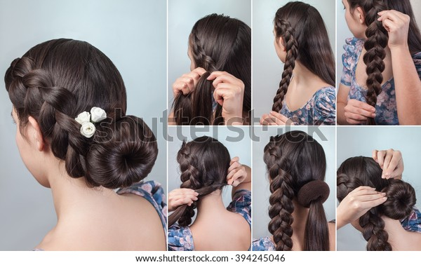 Hairstyle for long hair romantic braided bun updo with flowers tutorial