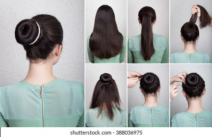 Hairstyle for long hair tutorial elegant bun with chignon and string of pearls