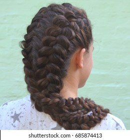 Hairstyle. Pigtails French with long hair