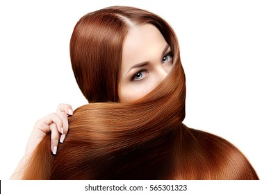Hairstyle salon. Fashion model, woman with shiny long healthy hair. Girl with luxurious haircut. Hair loss. Concept of oriental woman, face covered by hair