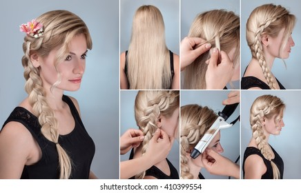 Hairstyle Tutorial Braids Images, Stock Photos & Vectors