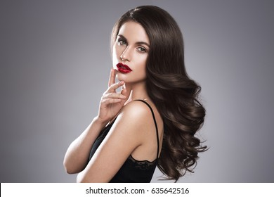Hairstyle woman beautiful portrait.Beauty girl model with long perfect hair.
