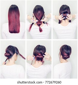 Hairstyles tutorial step by step. Woman showing how to make beautiful hair bun for every day. Back view of amazing female with red hair