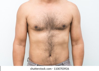 Hairy chest on skin man isolated on white background