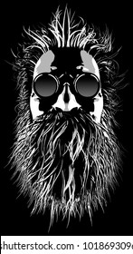 Hairy hippie character / 3D illustration of cartoon style grungy bearded man wearing sunglasses